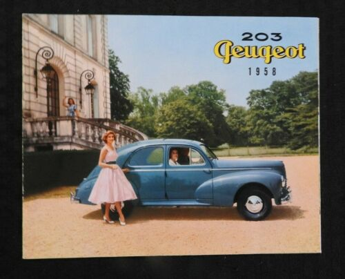 "1958 ""THE PEUGEOT 203"" AUTOMOBILE CATALOG SALES BROCHURE VERY NICE PROSPEKT"