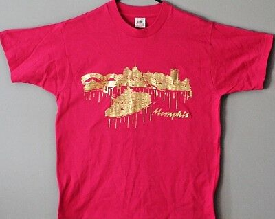Vtg Memphis TN t shirt med skyline and riverboat gold USA fruit of the loom