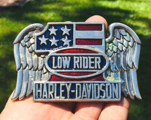 HARLEY DAVIDSON #1 1983 Awesome Belt Buckle VINTAGE LOW RIDER BRASS FLAG