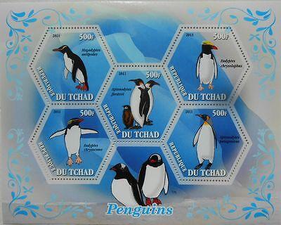 PENGUINS  BIRDS PENGUIN S/S HEXAGON SHAPE STAMPS TCHAD 2011 MNH TCHAD2011-42