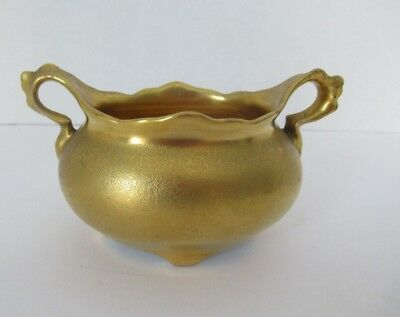 Vtg Stouffer Gold Embossed Open Sugar Bowl Dual Handle  ()