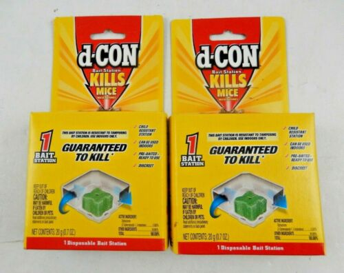 2x d-Con Bait Station Kills Mice Indoors Disposable Ready Use Child Resistant