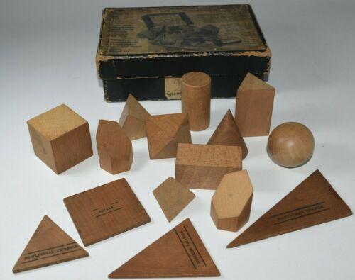 Vintage Geometrical Crystal Shapes Desk Models Display Cubist Wood Blocks Boxed