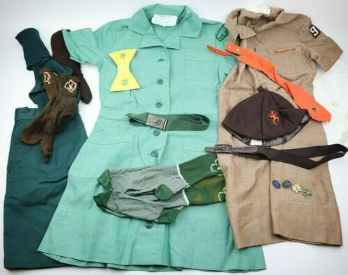 VINTAGE LOT GIRL SCOUTS BROWNIE JUNIOR SHIRTS DRESS TIE BELTS SHORTS HAT PINS