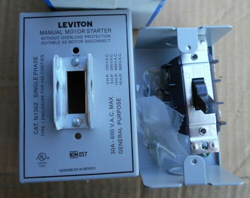 Leviton N1302-DS 30amp 600v manual motor starter in Nema 1 enclosure, New open