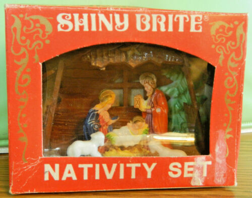 Shiny Brite Nativity Scene Plastic Christmas Tree Decoration Glitter Vintage