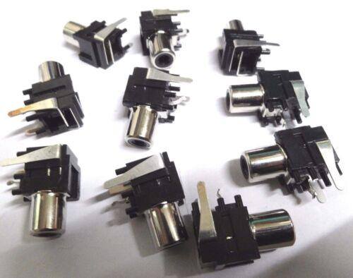 100 right angle pcb mount phono RCA sockets