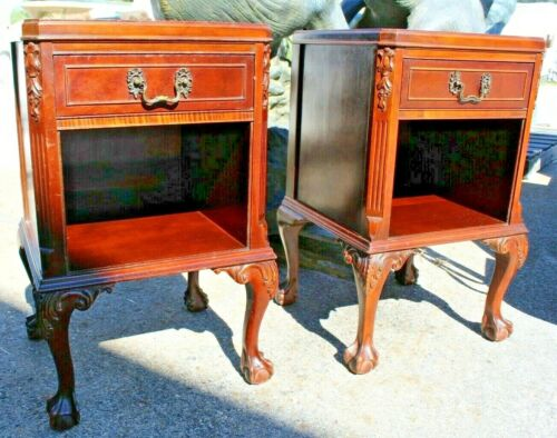 Pair of Empire Case Goods Mahogany Chippendale Style Ball & Claw Nightstands