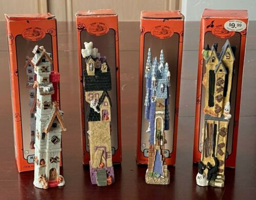 """Lot Haunted House Halloween Figurine Statues River Grove Pottery Works 6"""" Tall"""
