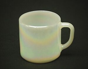 Old Vintage Moonglow Shell Pearl Iridescent by Federal Milk Glass Coffee Cup Mug