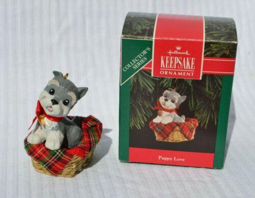 Hallmark Puppy Love 2 Schnauzer dog in basket 1992 Christmas ornament QX448-4