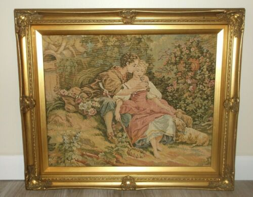 ANTIQUE 18TH CENTURY STYLE ROMANTIC FIGURAL TAPESTRY ART PIECE