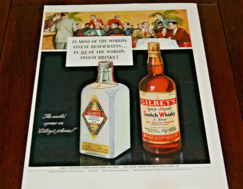 Print AD 1950 Sales Advertisement Art Poster Gilbey