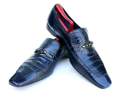 Mezlan Platinum Lloyd Blue Alligator Deer Leather Slip On Loafer Dress Shoe 10M