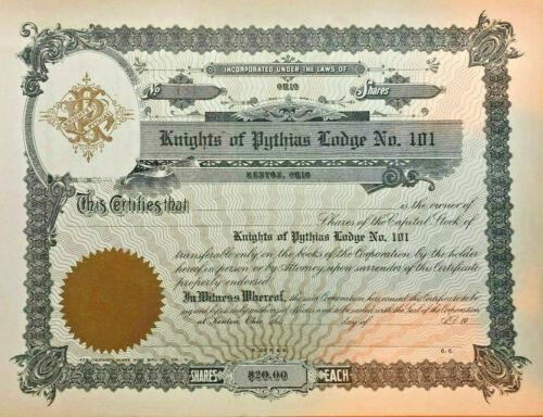 Knights of Pythias Lodge No. 101 Kenton Ohio stock certificate