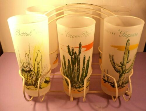 """VINTAGE 6.5"""" ARIZONA CACTUS FROSTED TUMBLERS COMPLETE SET WITH CARRIER"""