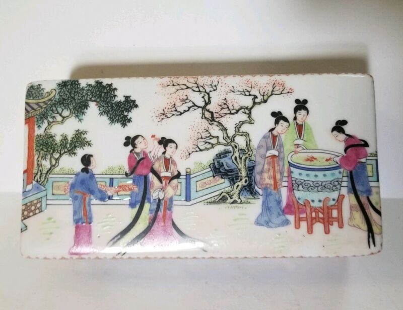 Chinese Ceramic Box With Lid rectangular hand painted trinket box asian lovely