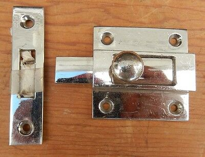 (Chrome Plate Cast Brass Sliding Latch Cabinet Cabin Nautical  )
