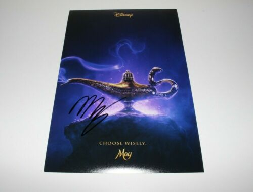 ACTOR MENA MASSOUD SIGNED 'ALADDIN' LIVE ACTION MOVIE POSTER w/COA 2019 PROOF