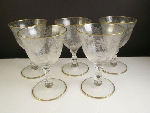 5 Cambridge Wildflower Gold Fruit Cocktail Glasses Elegant Depression Glass