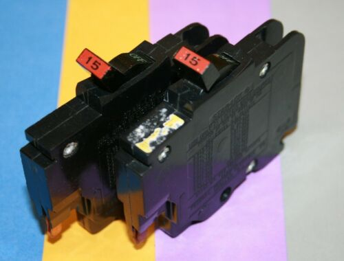 2 FEDERAL PACIFIC 15 AMP 1-POLE THIN NC 120 VOLT BREAKERS SMALL CHIPS SAVE $$$$