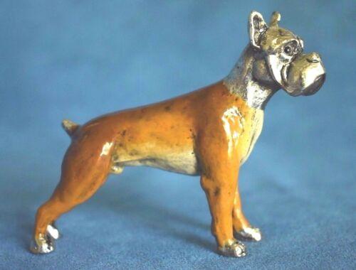 Signed Vintage Standing Boxer Dog Enamel On Silver Bronze Metal Figure Saturno ?
