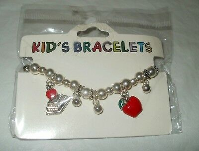 "FREE SHIPPING - Kid's Girl Bracelet Jewelry ""I LOVE SCHOOL"" Designs New in Pack"