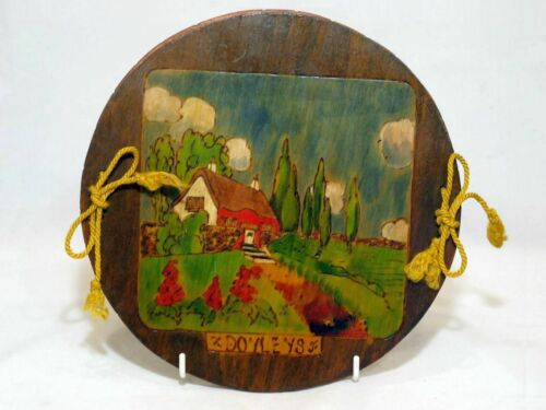 Vintage Pokerwork Doyley Holder, Cottage Scene