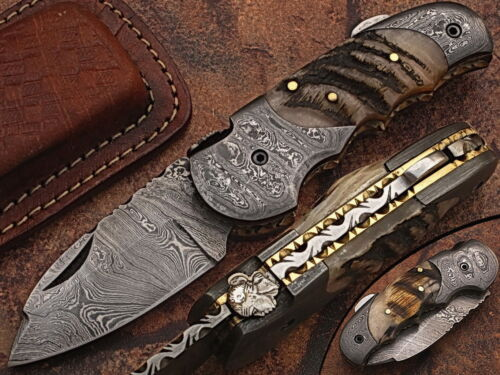 Eye Catching  Damascus Steel Folding Knife, Hand Made, DB_5060-R