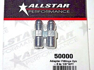 AllStar Steel Brake Line Caliper Adapter Fitting Straight  3 AN To 18 NPT  2pk