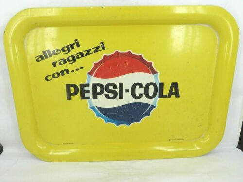 HTF 1960s PEPSI COLA serving advertising tray sign ITALIAN bottle cap design