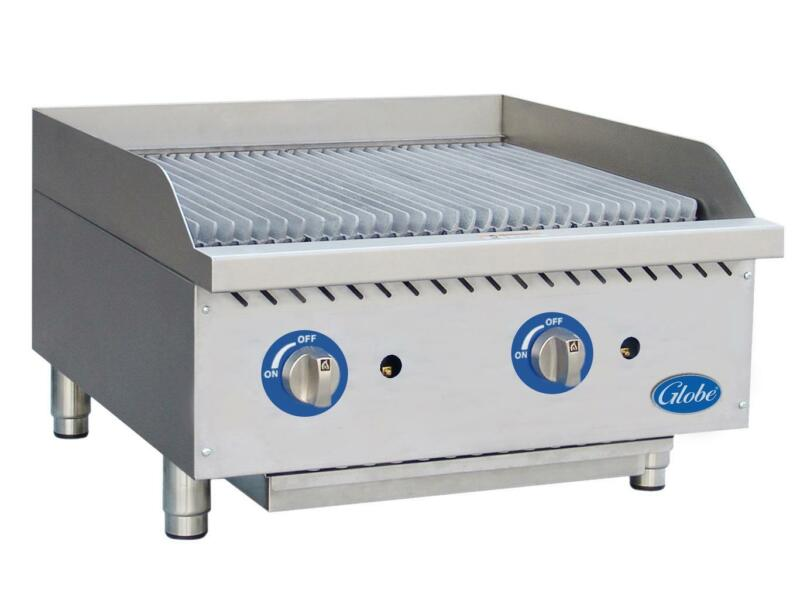 "Globe Gcb24g-rk 24"" Char Rock Counter-top Charbroiler Natural Gas Commercial"