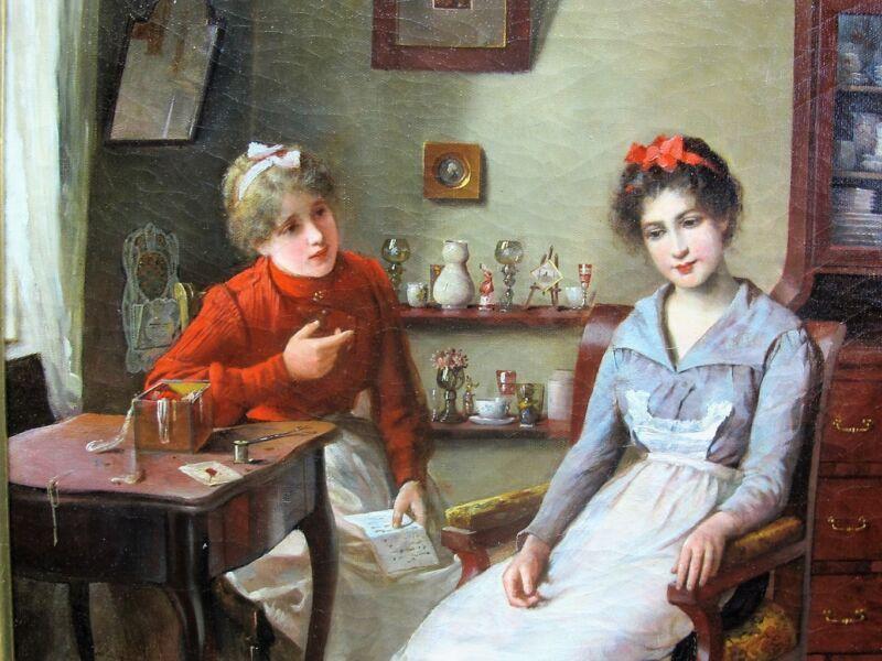 "Fine 19th C. German Oil Painting  Alois Priechenfried  ""the Letter""  C. 1880"