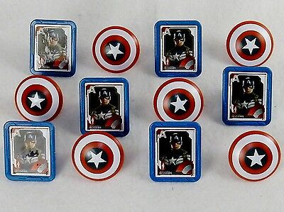 Marvel Captain America Shield Rings, 12 Pack Cupcake Toppers, Two - Captain America Cupcake Toppers
