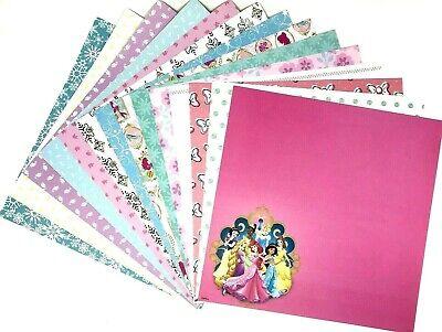 12X12 Scrapbook Paper lot 14 Sheets Disney Princess Prints Card Making L234 Disney Princess 12x12 Paper