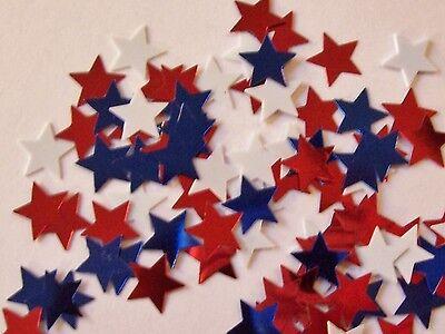 50 Red,White, Blue Die Cut Metallic Foil/Scrapbook Confetti Paper -