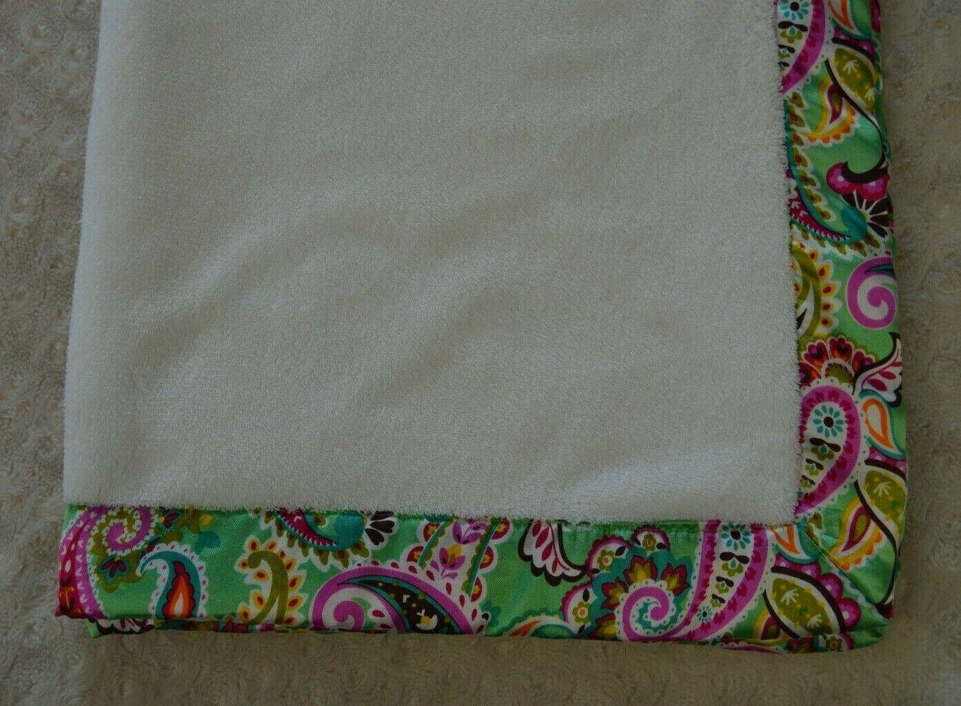 Vera Bradley Tutti Frutti Baby Blanket Green White Paisley Silky Edge Lovey - $54.95