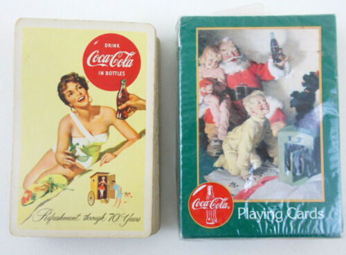 Lot of 2 Decks COCA COLA PLAYING CARDS 1996 in Box + Refreshment Thru 70 years