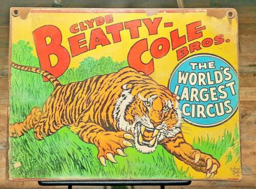 CLYDE BEATTY - COLE BROS. TIGER Circus vintage Poster wood handmade Art sign