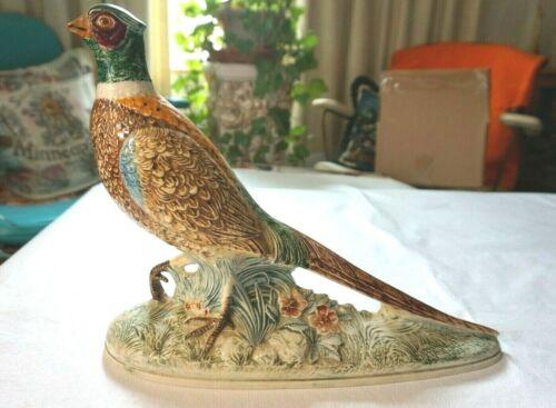 "Vintage 70s Holland Mold Ceramic PHEASANT Bird Statue Figurine 10"" x 14"" Hunting"