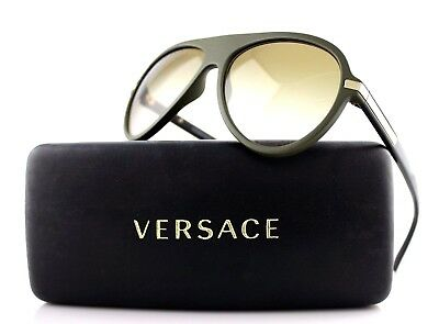 New Authentic VERSACE Matte Green Brown Aviator Sunglasses VE 4321 5182/13