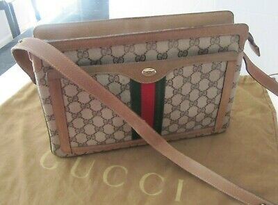 GUCCI AUTHENTIC VINTAGE THREE STRIPED MONOGRAM GG CROSSBODY SHOULDER BAG PURSE