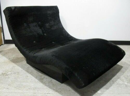 ADRIAN PEARSALL STYLE BLACK VELVET WAVE CHAISE LOUNGE CHAIR mid century modern