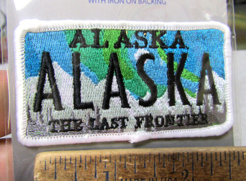 Embroidered Alaska Patch - Alaska Artistic Aurora License Plate Style Patch, NEW