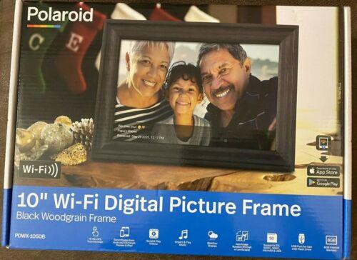 "Polaroid 10"" WiFi Digital Picture Frame Black Woodgrain Touchscreen - FAST SHIP"