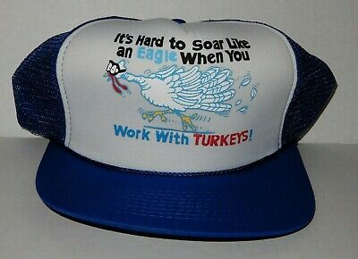 Funny Turkey Hats (Vintage SnapBack Trucker Hat Funny HARD TO SOAR LIKE AN EAGLE 'WORK W/)