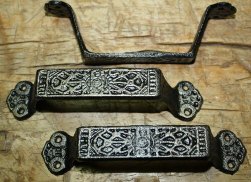 2 Large Cast Iron Antique Style FANCY Barn Handle Gate Pull Shed Door Handles #7