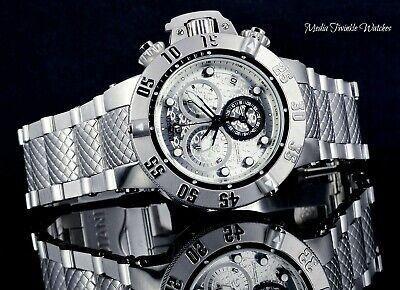 Invicta 50mm Subaqua Noma III ALL Silver Swiss Quartz Watch w/Bracelet Upgrade !