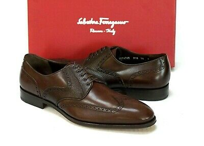 Salvatore Ferragamo Men's Brown Wingtip Oxford Brogue Shoes Size 10.D US $840.00