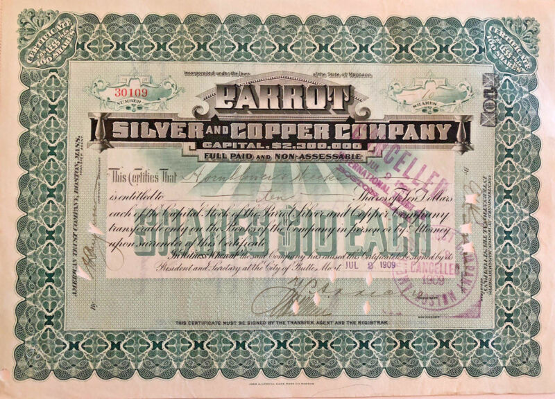 Parrot Silver and Copper Company > 1909 Montana mining stock certificate